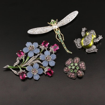Assorted Flora and Fauna Rhinestone Brooches