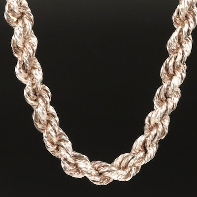 Mexican Sterling Silver Rope Chain Necklace