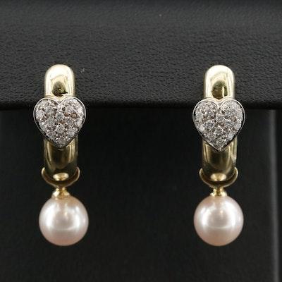 18K Diamond Heart J Hoop Earrings with Pearl Slides