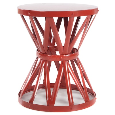 Red Metal Cinched End Table