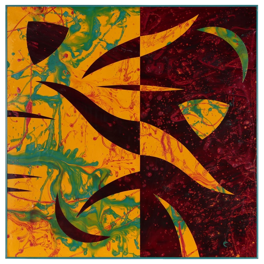 """Kurt Shaw Monumental Abstract Acrylic Painting Collage """"Diapsid"""", 1997"""