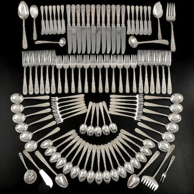 "S. Kirk & Son ""Repoussé"" Sterling Silver Flatware, Mid to Late 20th Century"
