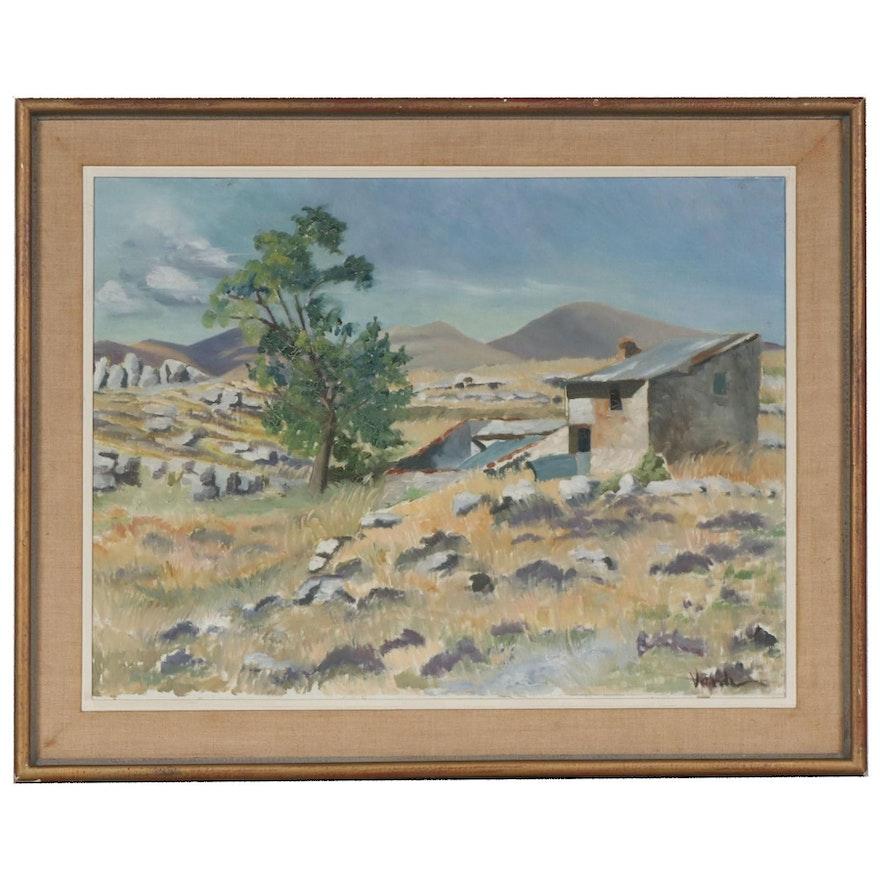 Aleksander Vardi Landscape Oil Painting, Mid-20th Century
