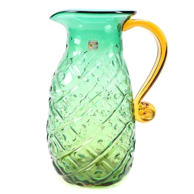 Blenko Blown Glass Pineapple Juice Pitcher, Mid to Late 20th Century