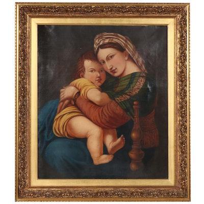 """Copy Oil Painting After Raphael """"Madonna Della Seggiola"""""""