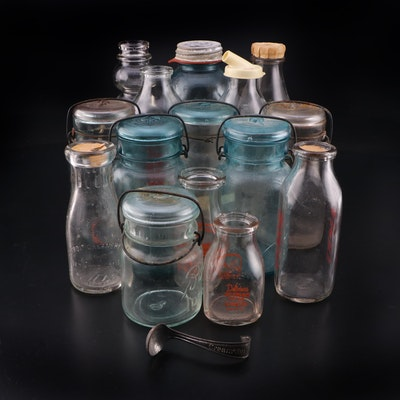Ball and Atlas Mason Jars, Glass Milk Bottles with Metal Cream Top Scoop