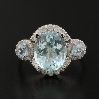14K Aquamarine and Diamond Ring