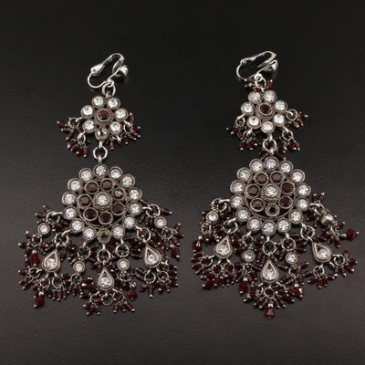 Chandelier Style Earrings Featuring Rhinestones, Resin and Glass