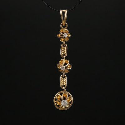 Victorian 10K Diamond Lavalier Pendant