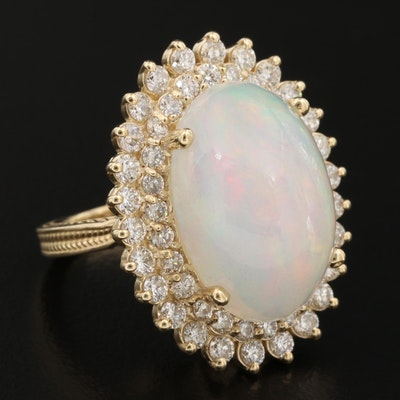 14K Gold Opal and 1.95 CTW Diamond Ring
