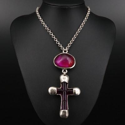 Uno de 50 Cross and Lock Pendant Necklace