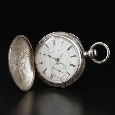 Coin Silver Hampden Key Wind & Set Pocket Watch