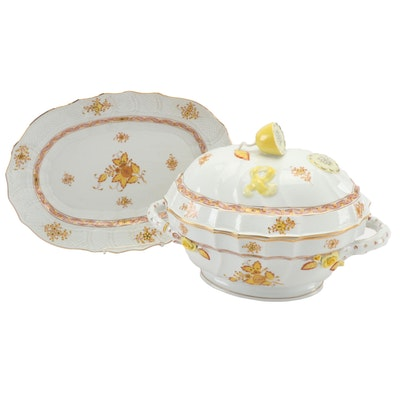 "Herend Yellow ""Chinese Bouquet"" Porcelain Tureen with Serving Platter"