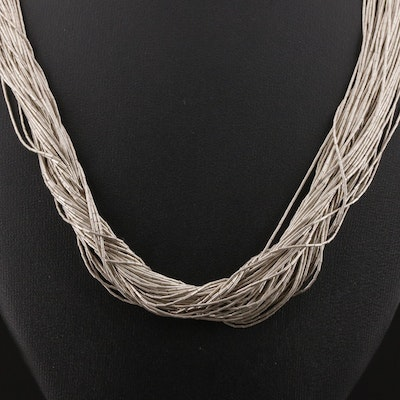 "Sterling Silver ""Liquid Silver"" Multi-Strand Necklace"