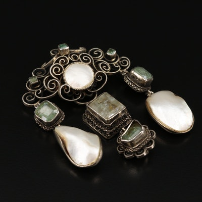 Sterling and 800 Silver Emerald, Beryl and Cultured Pearl Brooch