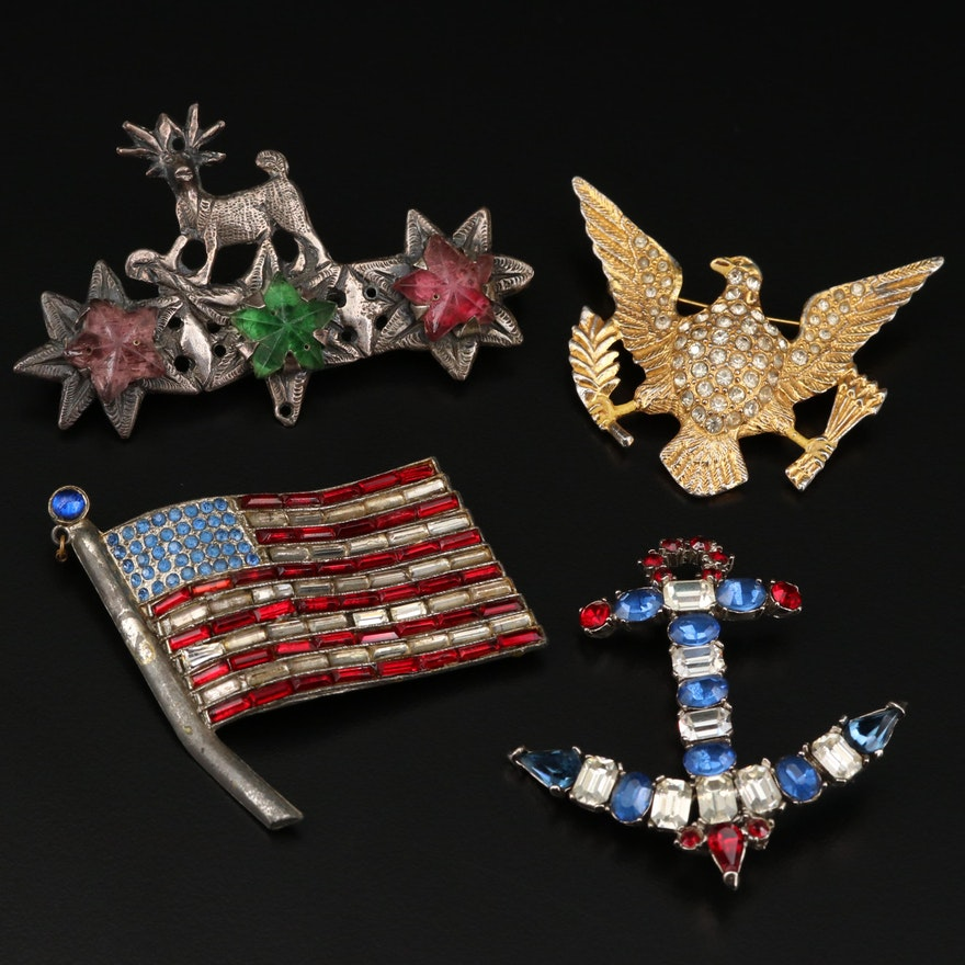 Rhinestone American Theme Brooches Including Anchor Brooch