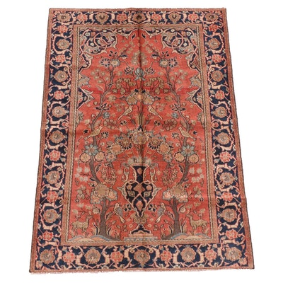 4'3 x 6'4 Hand-Knotted Persian Qashqai Wool Rug