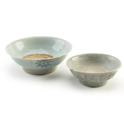 East Asian Glazed Earthenware Footed Bowls