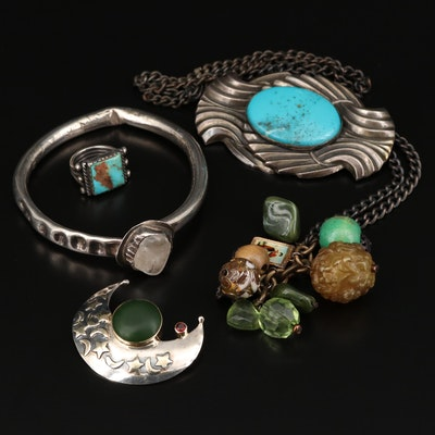Collection of Sterling Silver Including Moon Brooch and Turquoise Ring
