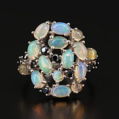 Sterling Silver Opal and Spinel Openwork Ring