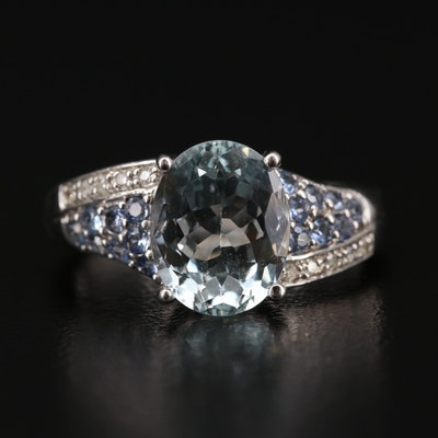 Sterling Silver Aquamarine, Sapphire, and Diamond Ring