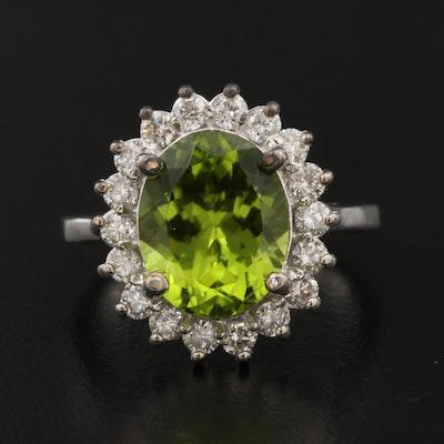 14K Peridot and Diamond Halo Ring