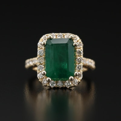 14K 4.75 CT Emerald and Diamond Halo Ring