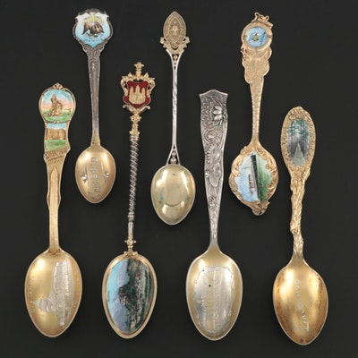 Gold Washed Sterling Silver and 800 Silver Enameled Souvenir Spoons