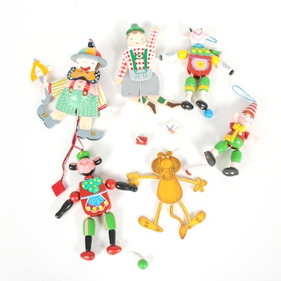 Wooden Pull String Puppets, Late 20th Century