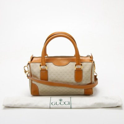 Gucci GG MicroGuccissima Coated Canvas Satchel with Tan Leather Trim