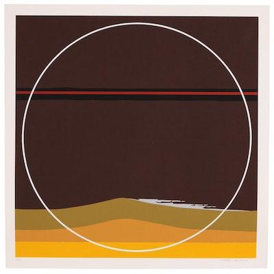"Thomas W. Benton Abstract Serigraph ""Yellow Dunes"""