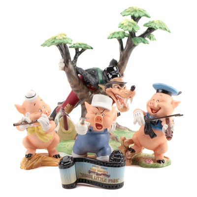 "Walt Disney Classics Collection ""Three Little Pigs"" Ceramic Figurines"