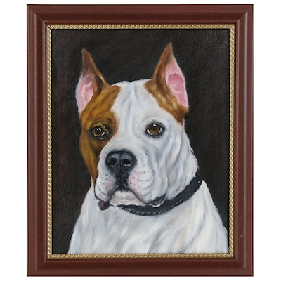 Joseph Veillette Dog Portrait Oil Painting, 2019