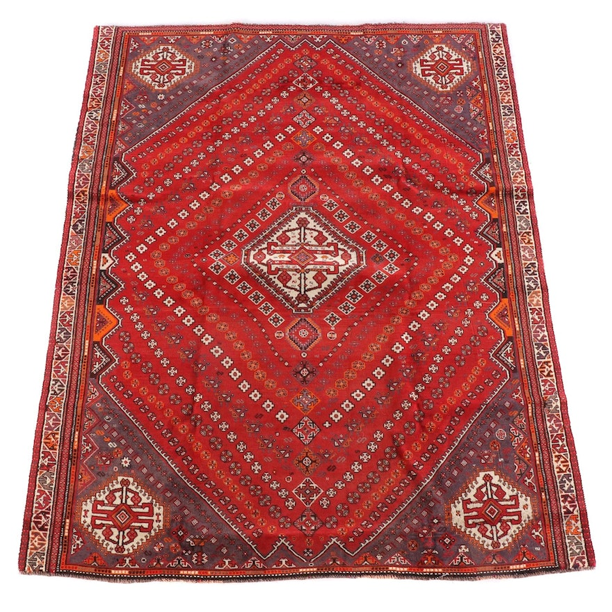 6'11 x 9'2 Hand-Knotted Persian Qashqai Wool Rug