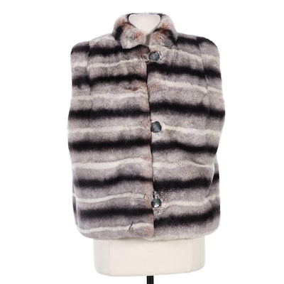 Misha Chinchilla-Dyed Rex Rabbit Fur Vest, Made in Italy