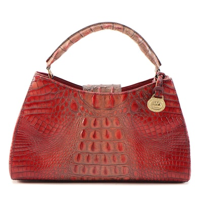 Brahmin Lotus Melbourne Croc-Embossed Leather Handbag