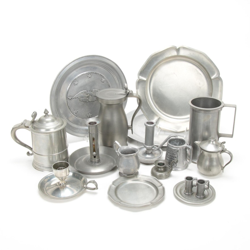 Woodbury, Stieff, International and Other Pewter Serveware and Table Accessories
