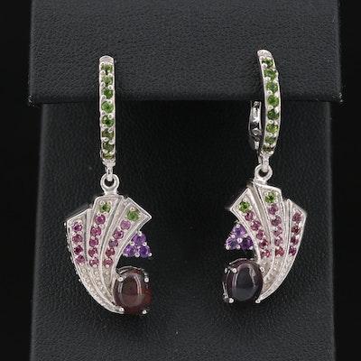 Sterling Silver Opal, Amethyst and Rhodolite Garnet Earrings