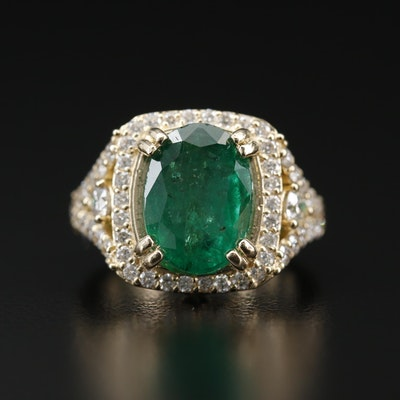 14K 3.75 CT Emerald and 1.30 CTW Diamond Ring