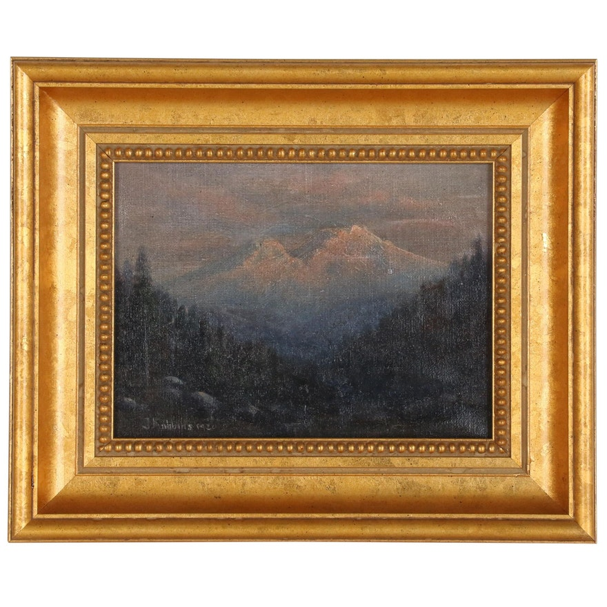J. Robbins Continental Landscape Oil Painting, 1920