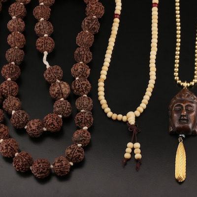 Religious Themed Wood and Glass Prayer Beads with Buddha Pendant Necklace