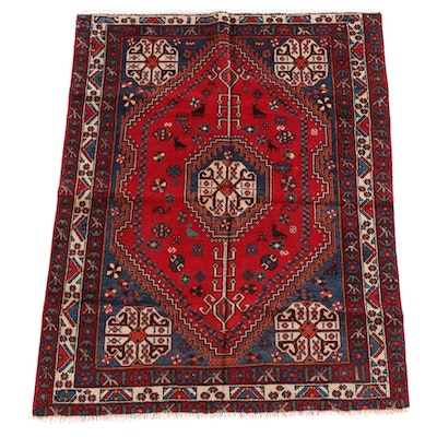 4'11 x 6'6 Hand-Knotted Persian Qashqai Wool Rug