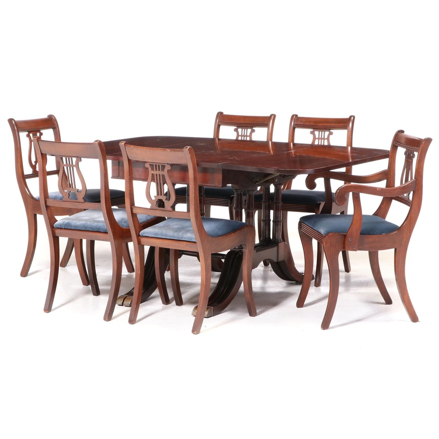White Furniture Co. Classical Style Mahogany-Veneered and Stained Dining Suite