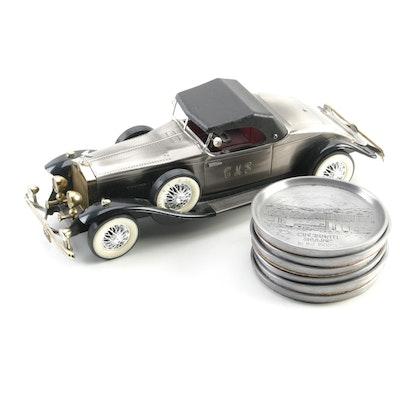 "Rolls Royce/Radio ""1931 Model"" and Pewter Coasters with Cincinnati Scenes"