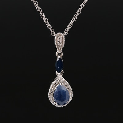 Sterling Silver Glass Filled Corundum and Diamond Drop Pendant Necklace