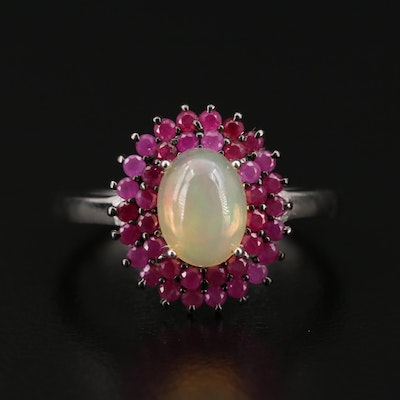 Sterling Silver Opal and Ruby Ring