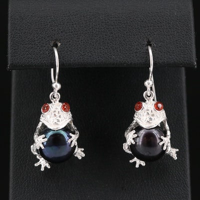 Sterling Silver Garnet and Cultured Pearl Frog Earrings