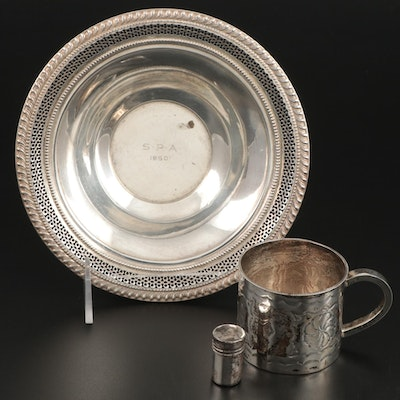 Frank M. Whiting Sterling Bonbon Bowl with Sterling Cup and Pill Box