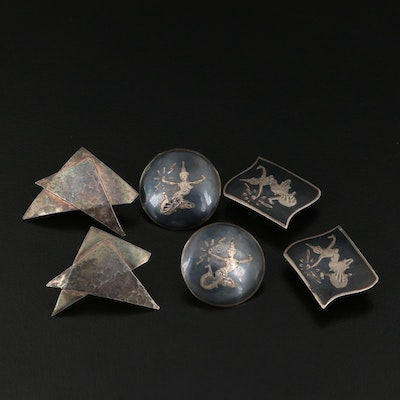 Sterling Earring Assortment Including Siam Sterling