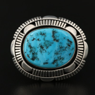 Southwestern Signed Eugene Belone Navajo Diné Turquoise Shadow Box Brooch